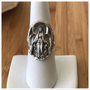 Vintage Sterling Silver Religious Ring, Size 7